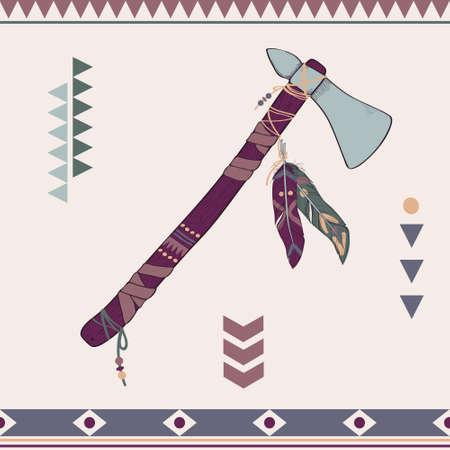 american tomahawk: Vector illustration of native American indian tomahawk