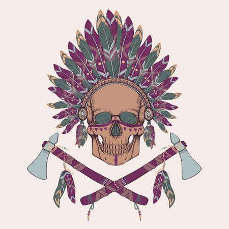 indian chief headdress: Illustrazione vettoriale del cranio umano in native american indian chief copricapo, tomahawk
