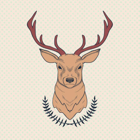 Vector hand drawn colorful illustration of deer and laurel Vector