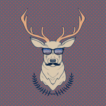 stag horn: Vector hand drawn colorful illustration of hipster deer with mustaches and glasses