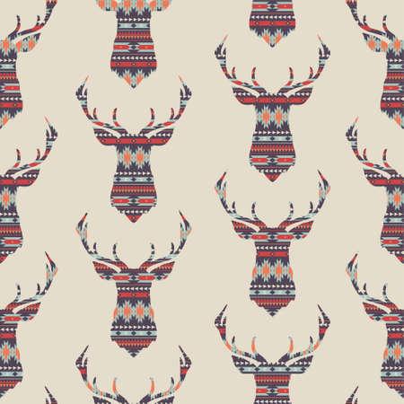 シームレスなカラフルな装飾的な民族パターン ベクトルの鹿