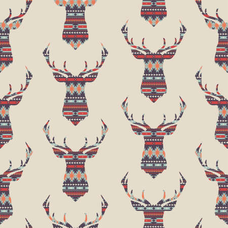 Vector seamless colorful decorative ethnic pattern with deer