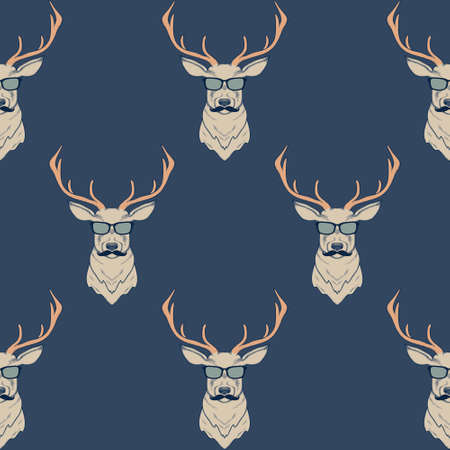 Vector seamless pattern with hipster deer wearing mustaches and glasses Stock Illustratie