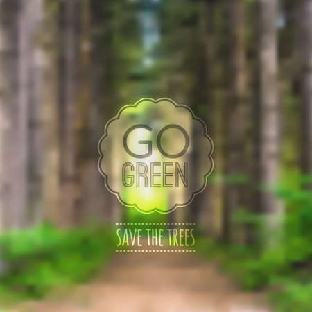 go green icons: Vector ecological blurred illustration with road, trees and label Go green Illustration