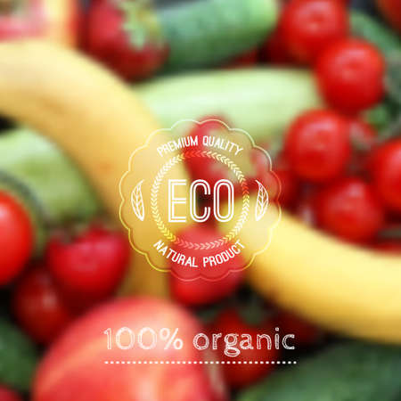 Vector blurred background with fruits, vegetables and eco label