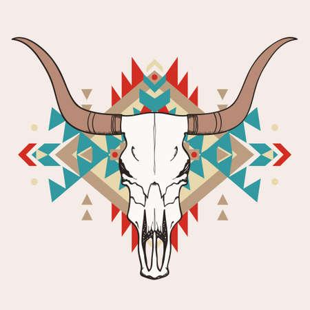 american rodeo: Ilustración del vector del cráneo del toro con el ornamento étnico