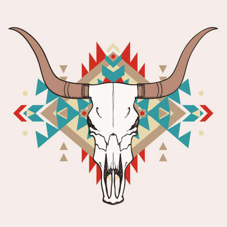 rodeo americano: Ilustraci�n del vector del cr�neo del toro con el ornamento �tnico
