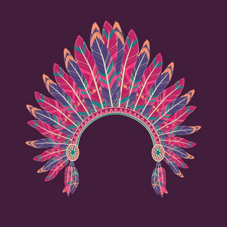 indian headdress: Vector colorful illustration of native american indian chief headdress with feathers