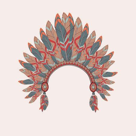 totem indien: Vector illustration color�e de la coiffure Indien de l'Am�rique chef indig�ne avec des plumes