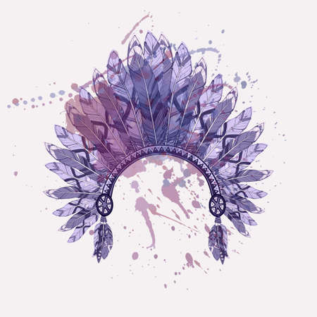 boho: Vector illustration of native american indian chief headdress with feathers on watercolor splash background