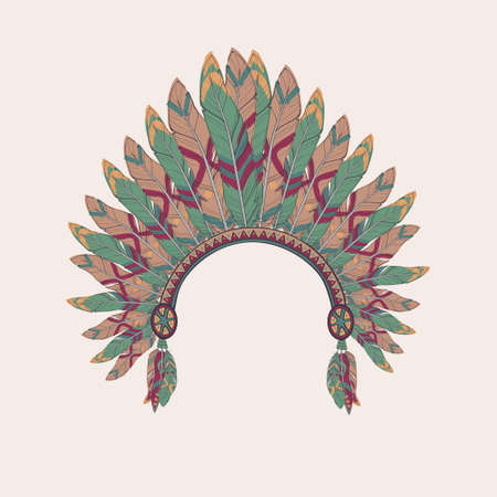 chieftain: Vector colorful illustration of native american indian chief headdress with feathers