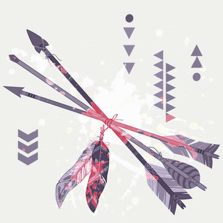 cherokee: Vector grunge illustration of different ethnic arrows with feathers and splash