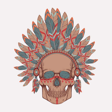 Vector illustration of human skull in native american indian chief headdress Vector