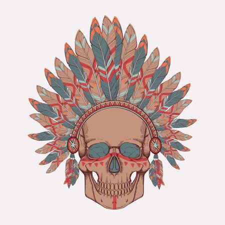 Vector illustration of human skull in native american indian chief headdress Vector