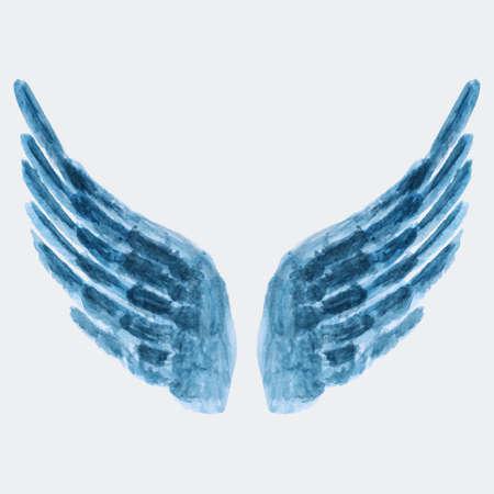 Vector illustration of watercolor wings Vectores