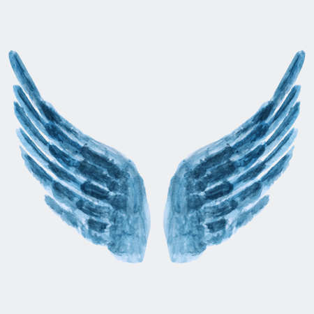 Vector illustration of watercolor wings Illustration