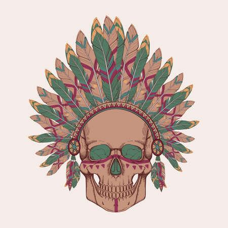 indian chief headdress: Illustrazione vettoriale del cranio umano in native american indian chief copricapo