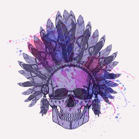 Vector grunge illustration of human skull in native american indian chief headdress with watercolor splash Vector