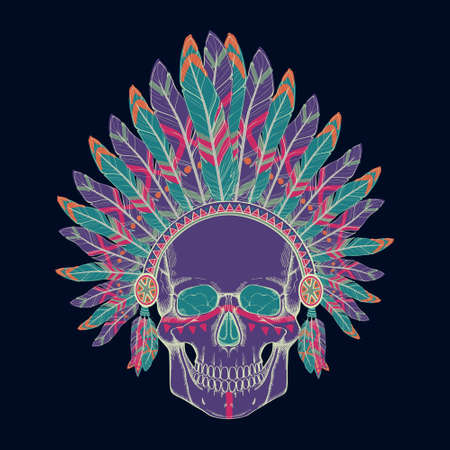 headdresses: Vector illustration of human skull in native american indian chief headdress