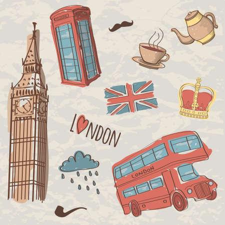 bandera inglaterra: Vector colorido conjunto de símbolos dibujados a mano en Londres