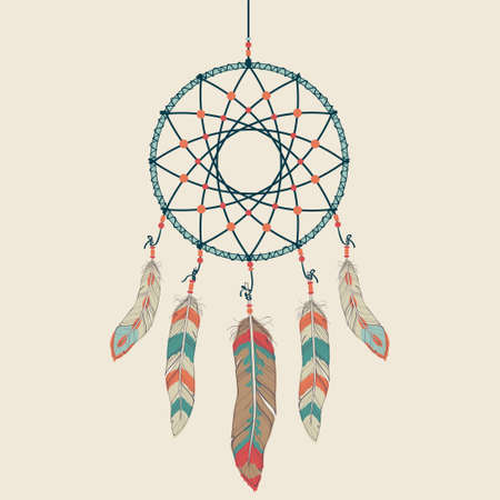 dreamcatcher: Vector colorful illustration of dream catcher