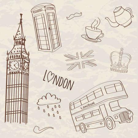 clock tower: Vector set of hand-drawn London symbols