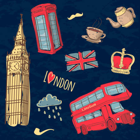 Vector colorful set of hand-drawn London symbols Vector