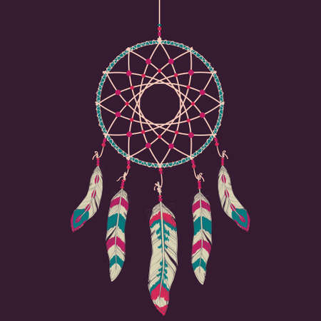 cherokee: Vector colorful illustration of dream catcher
