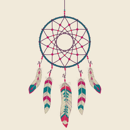 Vector colorful illustration of dream catcher Vector