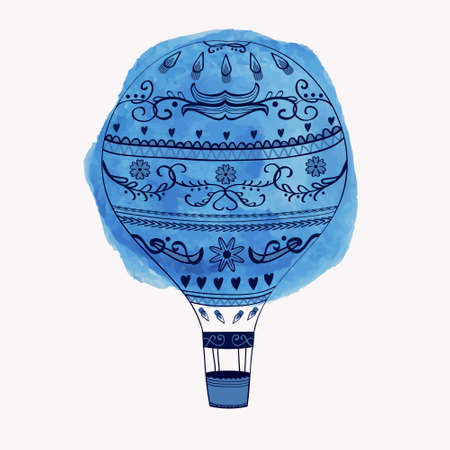 Vector illustration of hot air balloon with watercolor round element Vector