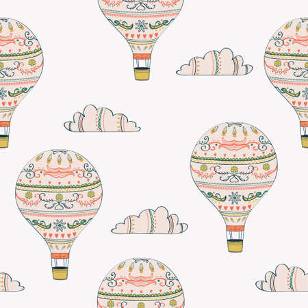 Vector seamless pattern with hot air balloon and clouds