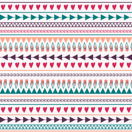 Vector seamless pattern with hearts, lines, arrows Vector