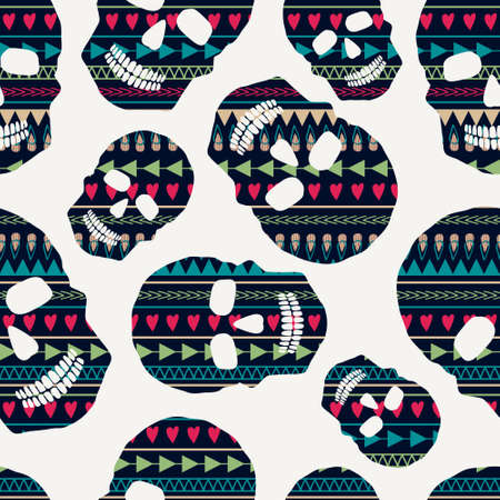 Vector seamless pattern with skulls Vector