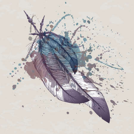 Vector illustration of eagle feathers with watercolor splash