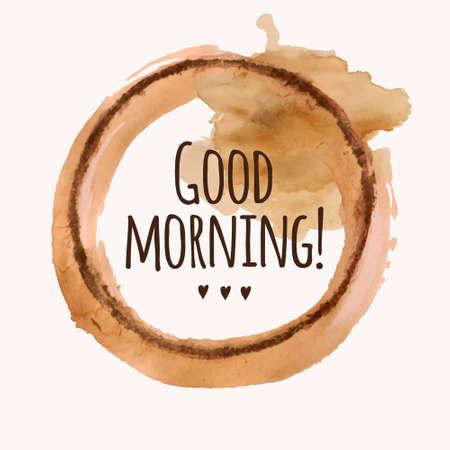 """""""좋은 아침""""어구 벡터 일러스트 레이 션과 부어 커피 얼룩"""