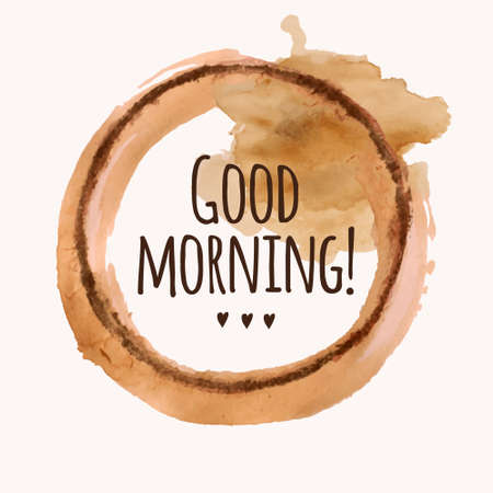 Vector illustration with Good morning phrase and pour coffee blot