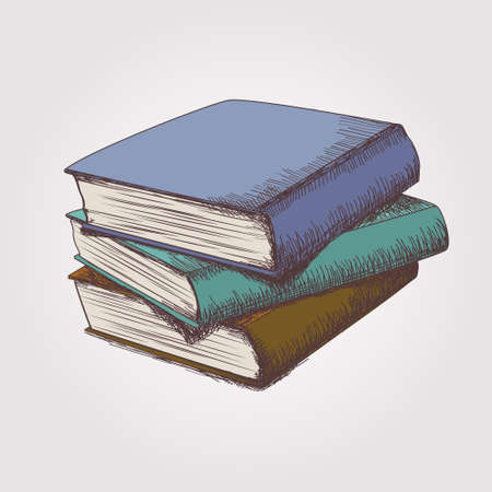 Vector colorful sketch of books stack
