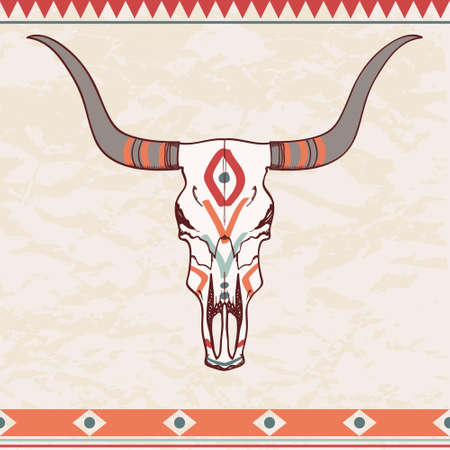 Vector illustration of bull skull with ethnic ornament