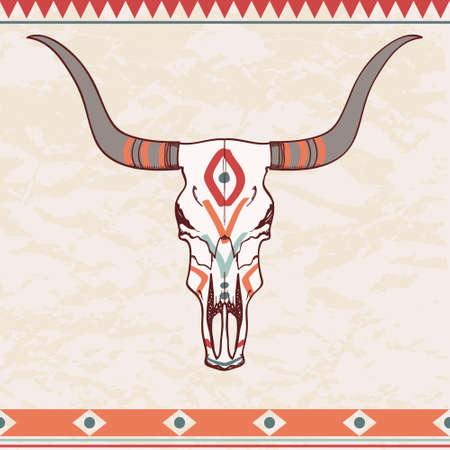 Vektor-Illustration der Stierschädel mit ethnischen Ornament Standard-Bild - 30030190