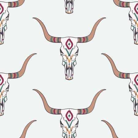 longhorn cattle: Vector seamless pattern with bull skull and ethnic ornament