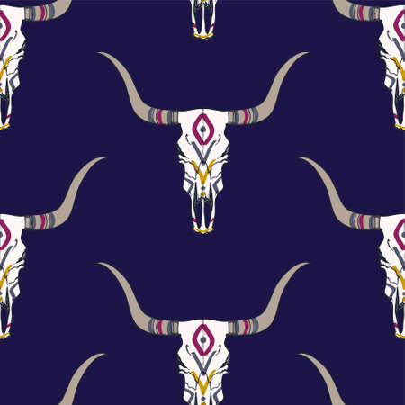 texas longhorn cattle: Vector seamless pattern with bull skull and ethnic ornament