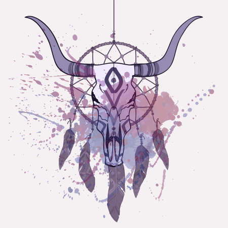 Vector illustration of bull skull and dream catcher with watercolor splash Illusztráció