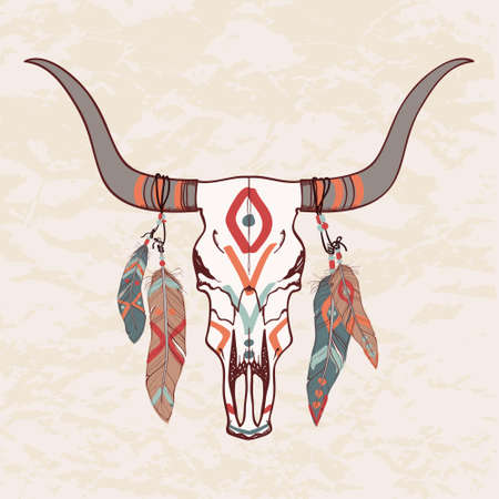 Vector illustration of bull skull with feathers Illusztráció
