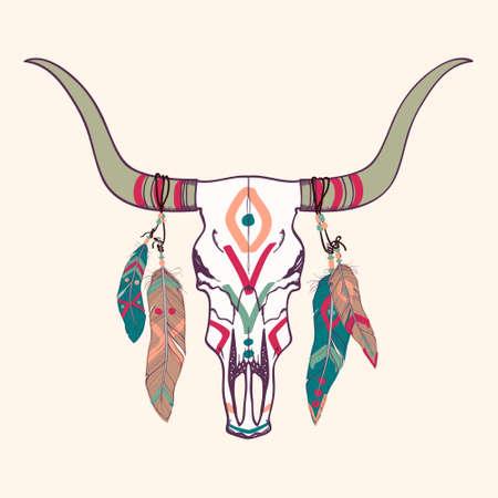 rodeo americano: Ilustraci�n del vector del cr�neo del toro con plumas