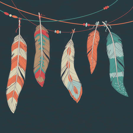 Vector colorful set of ethnic decorative feathers hanging on threads