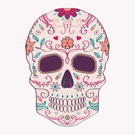 cultura maya: Ilustraci�n del vector del D�a del cr�neo muerto con el ornamento Vectores