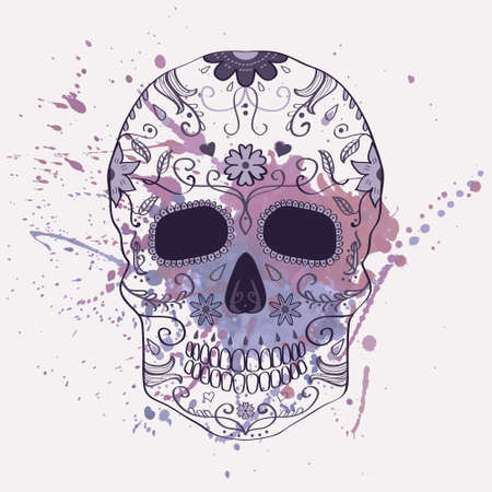 Vector illustration of Day of the Dead skull with ornament and watercolor splash Vector
