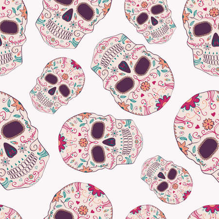 Vector seamless pattern with Day of the Dead skulls Illustration