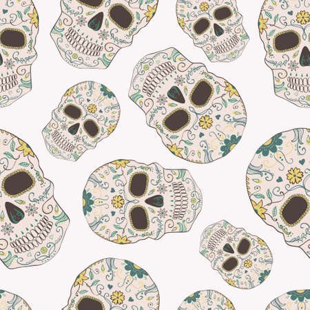 spook: Vector seamless pattern with Day of the Dead skulls Illustration