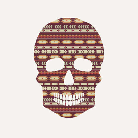 Vector illustration of skull with ethnic pattern Vector
